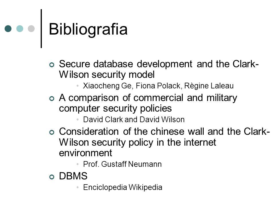 Bibliografia Secure database development and the Clark- Wilson security model. Xiaocheng Ge, Fiona Polack, Règine Laleau.