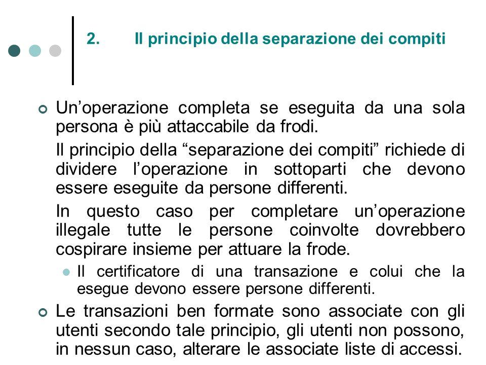 2. Il principio della separazione dei compiti