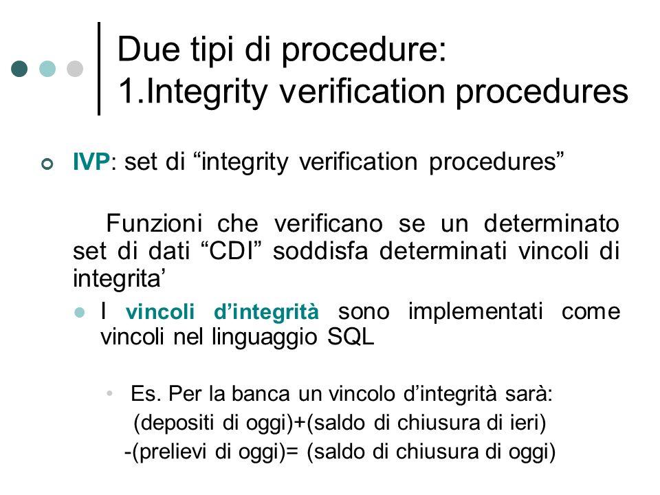 Due tipi di procedure: 1.Integrity verification procedures