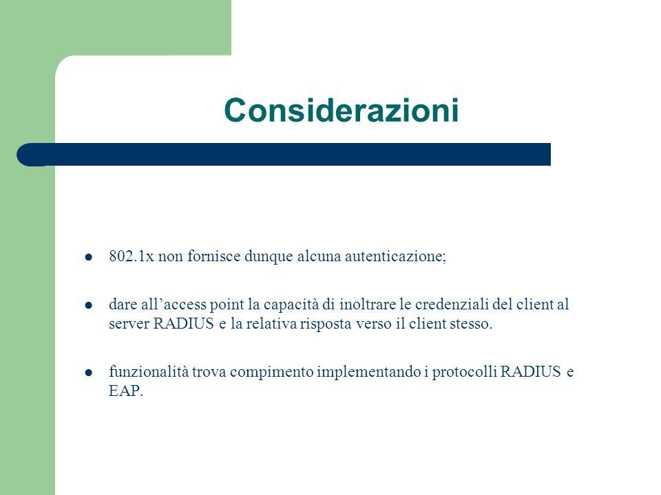 Considerazioni 802.1x non fornisce dunque alcuna autenticazione;