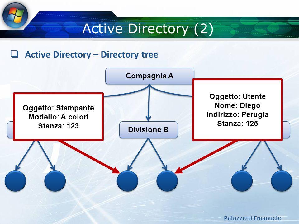 Active Directory (2) Active Directory – Directory tree Compagnia A
