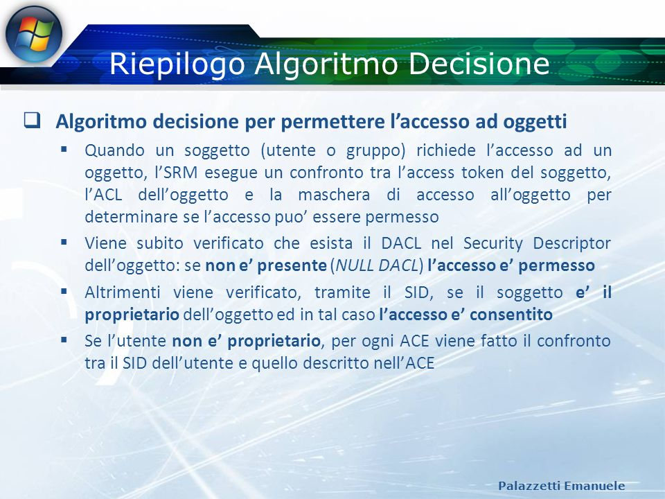 Riepilogo Algoritmo Decisione