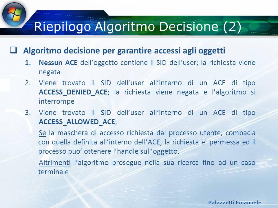 Riepilogo Algoritmo Decisione (2)