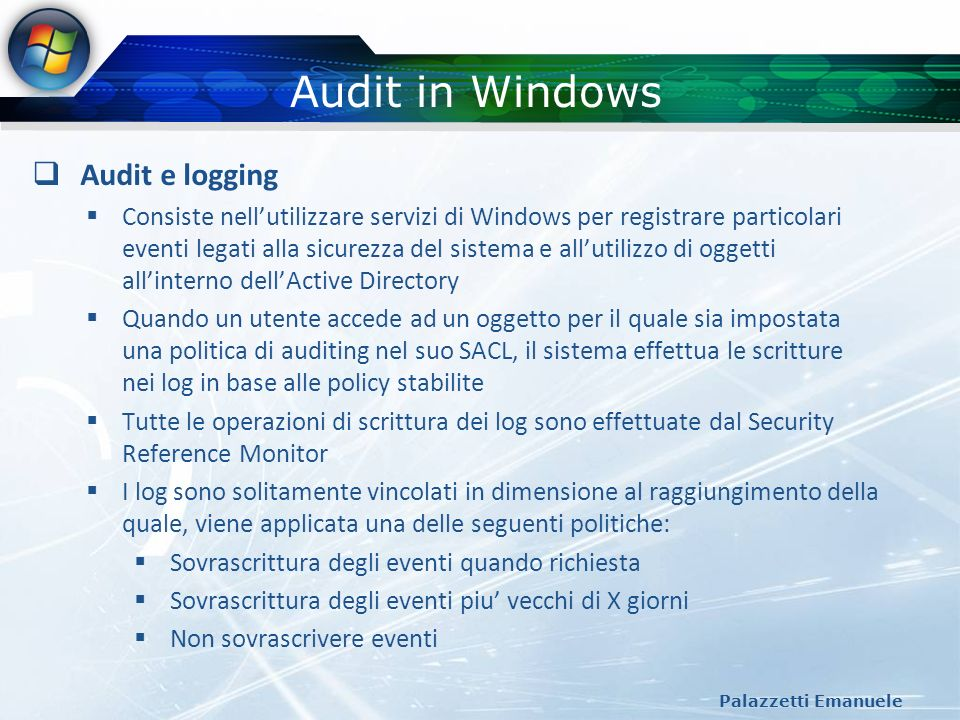 Audit in Windows Audit e logging