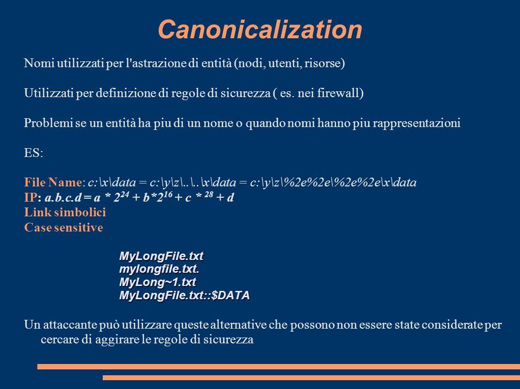 Canonicalization Nomi utilizzati per l astrazione di entità (nodi, utenti, risorse)