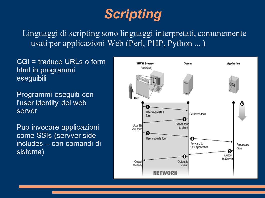 Scripting Linguaggi di scripting sono linguaggi interpretati, comunemente usati per applicazioni Web (Perl, PHP, Python ... )