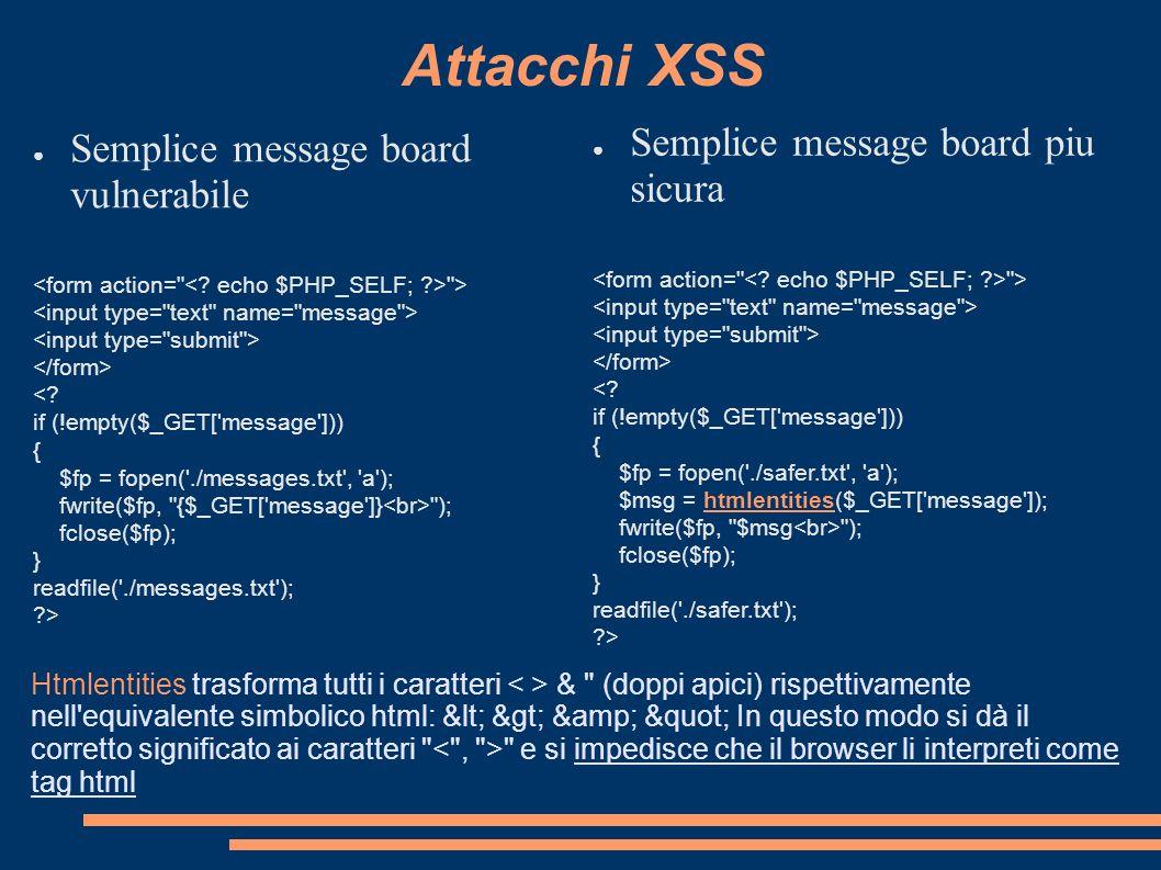 Attacchi XSS Semplice message board piu sicura