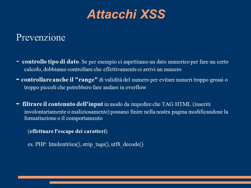 Attacchi XSS Prevenzione