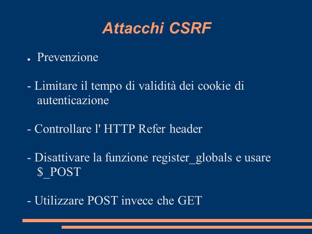 Attacchi CSRF Prevenzione