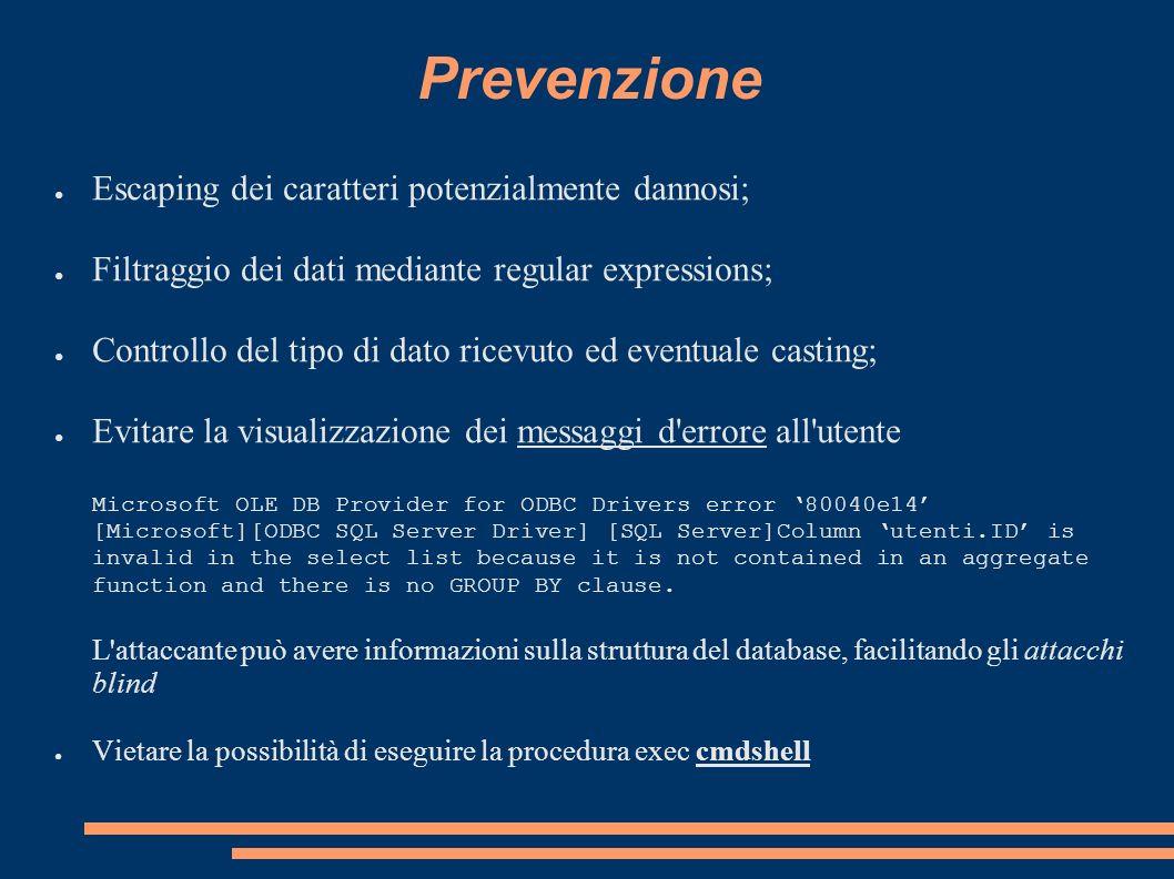 Prevenzione Escaping dei caratteri potenzialmente dannosi;