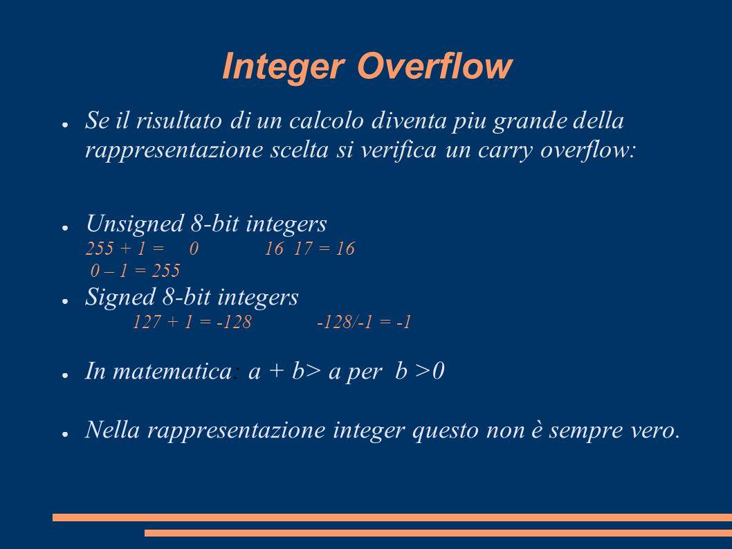 Integer OverflowSe il risultato di un calcolo diventa piu grande della rappresentazione scelta si verifica un carry overflow: