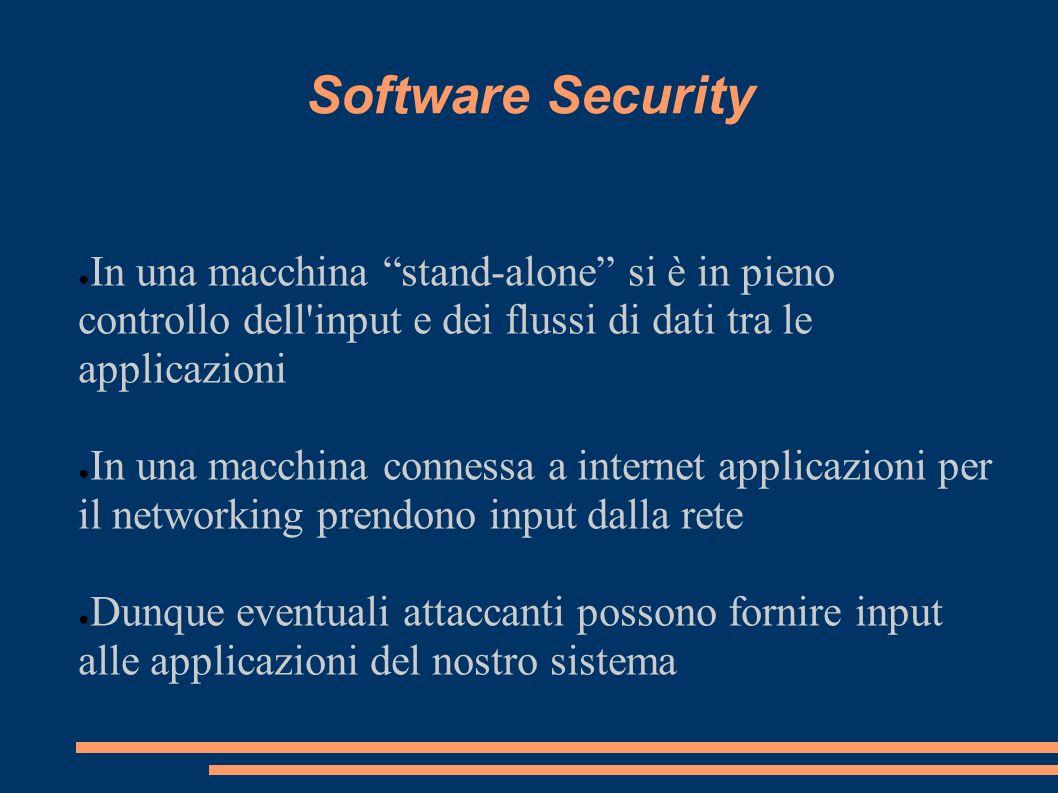 Software SecurityIn una macchina stand-alone si è in pieno controllo dell input e dei flussi di dati tra le applicazioni.