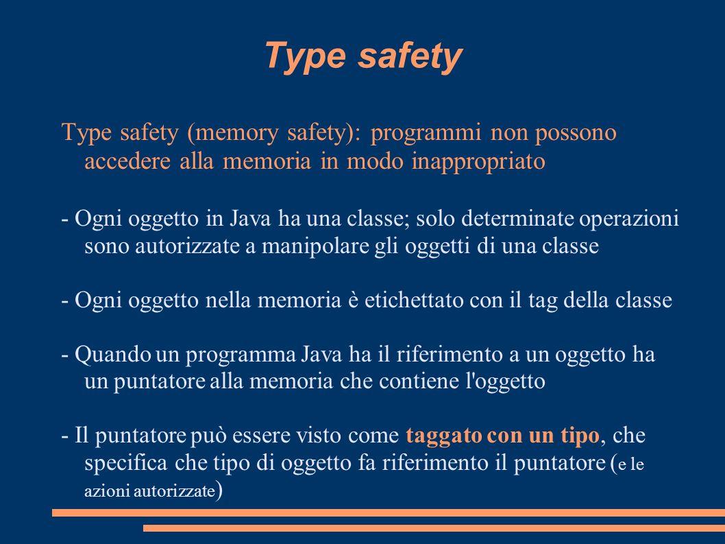 Type safety Type safety (memory safety): programmi non possono accedere alla memoria in modo inappropriato.