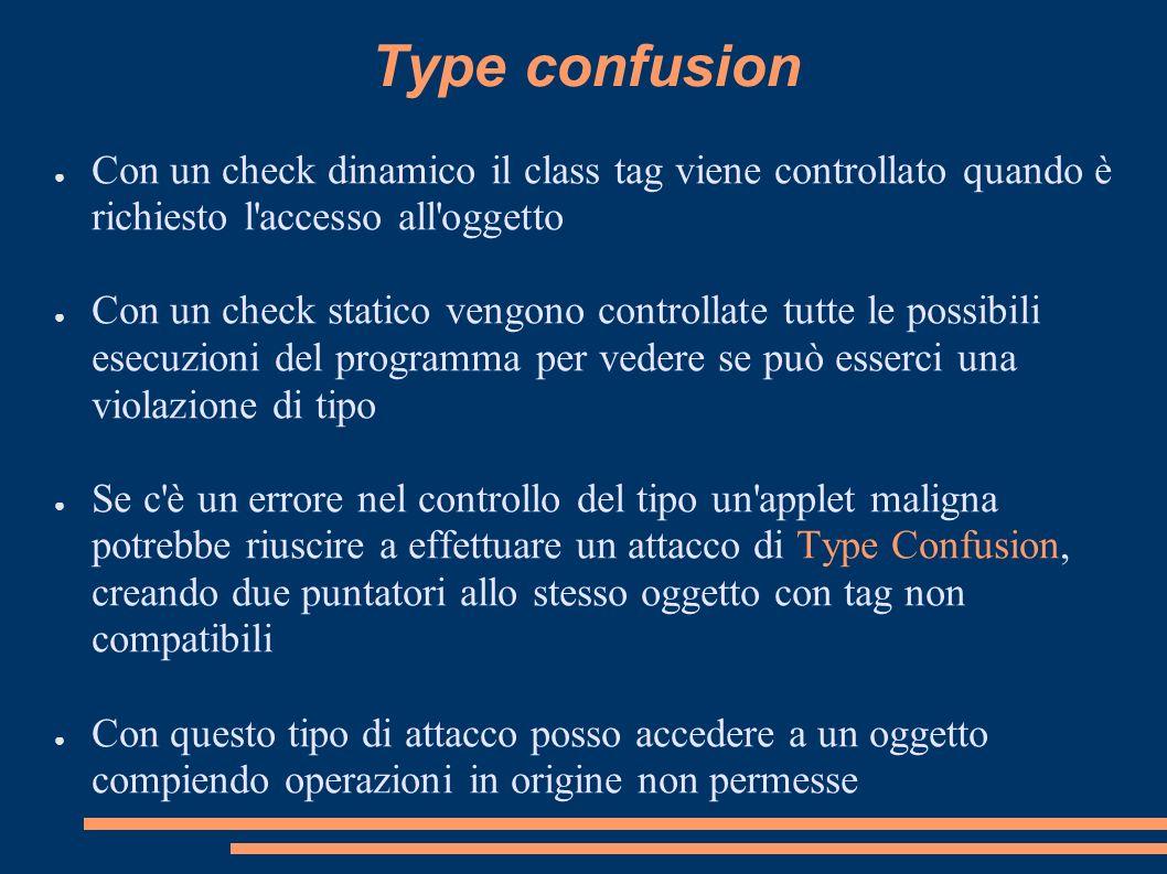 Type confusionCon un check dinamico il class tag viene controllato quando è richiesto l accesso all oggetto.