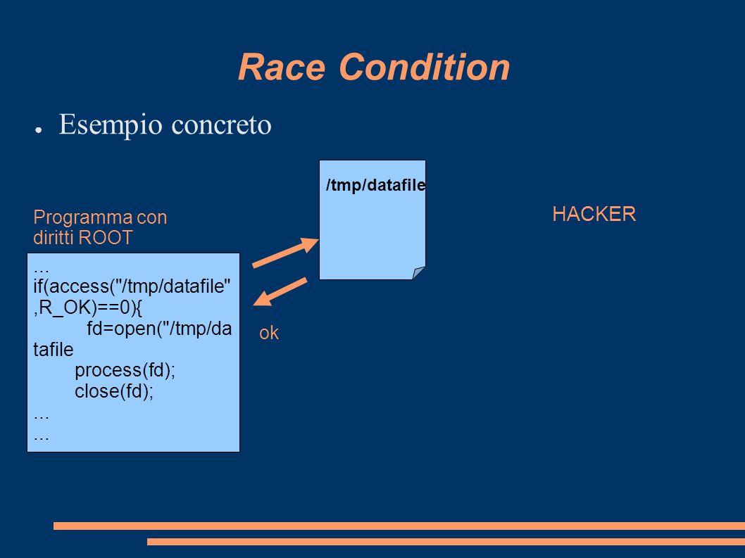 Race Condition Esempio concreto HACKER Programma con diritti ROOT ...