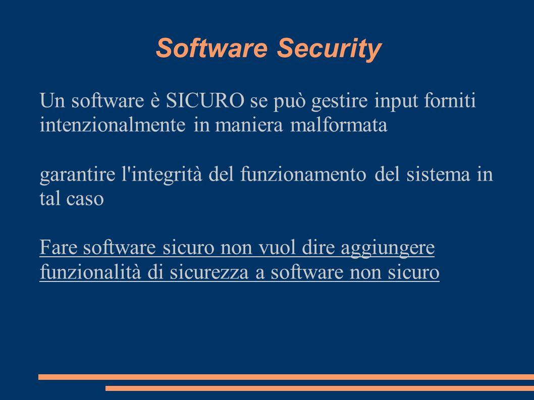 Software Security Un software è SICURO se può gestire input forniti intenzionalmente in maniera malformata.