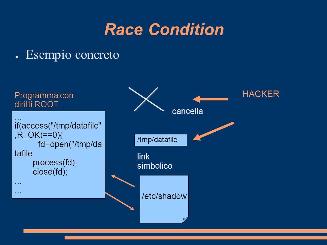 Race Condition Esempio concreto HACKER Programma con diritti ROOT