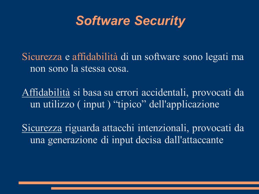 Software Security Sicurezza e affidabilità di un software sono legati ma non sono la stessa cosa.