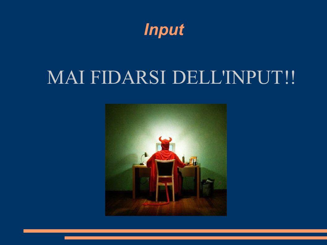 Input MAI FIDARSI DELL INPUT!!