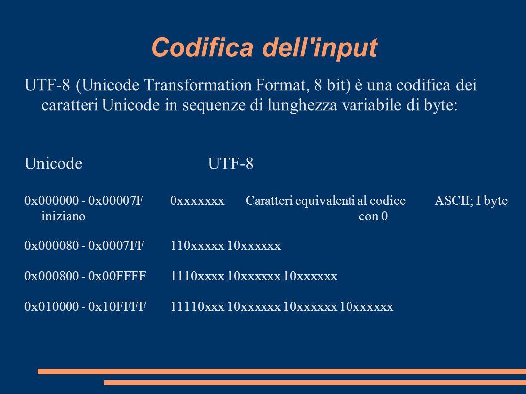Codifica dell inputUTF-8 (Unicode Transformation Format, 8 bit) è una codifica dei caratteri Unicode in sequenze di lunghezza variabile di byte: