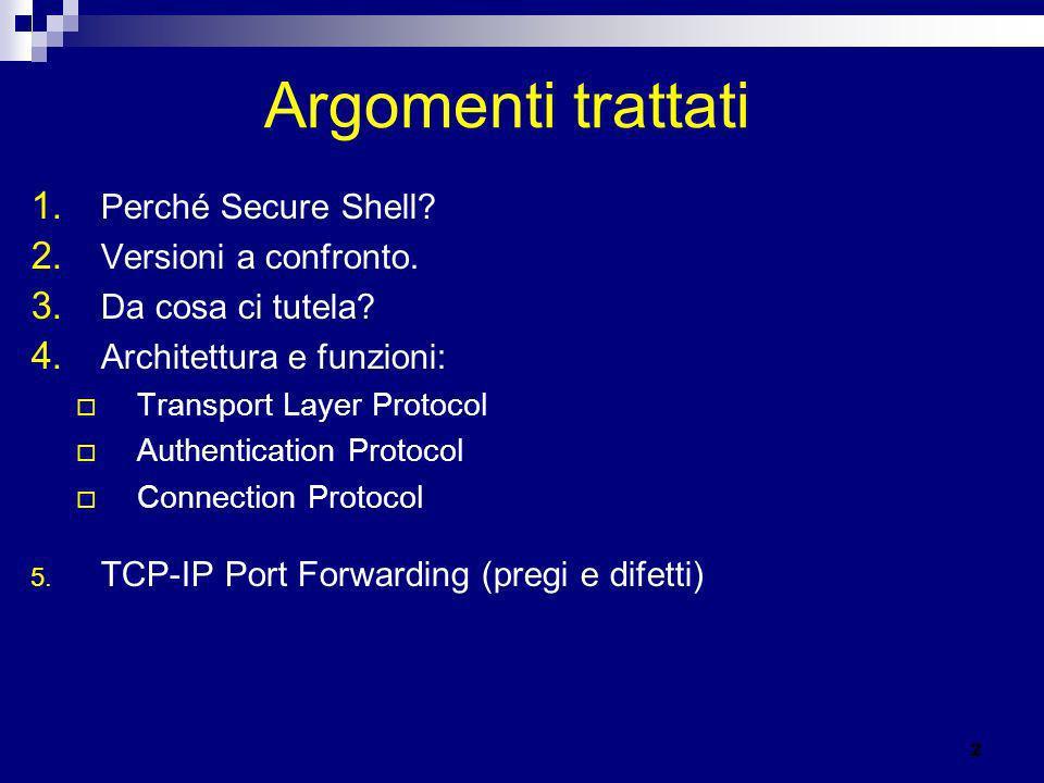 Argomenti trattati Perché Secure Shell Versioni a confronto.