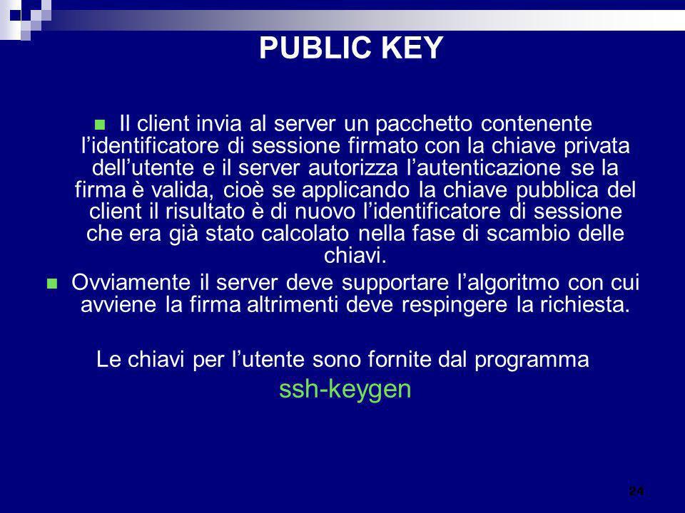 Le chiavi per l'utente sono fornite dal programma
