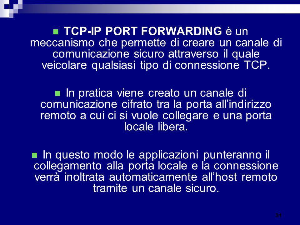 TCP-IP PORT FORWARDING è un meccanismo che permette di creare un canale di comunicazione sicuro attraverso il quale veicolare qualsiasi tipo di connessione TCP.