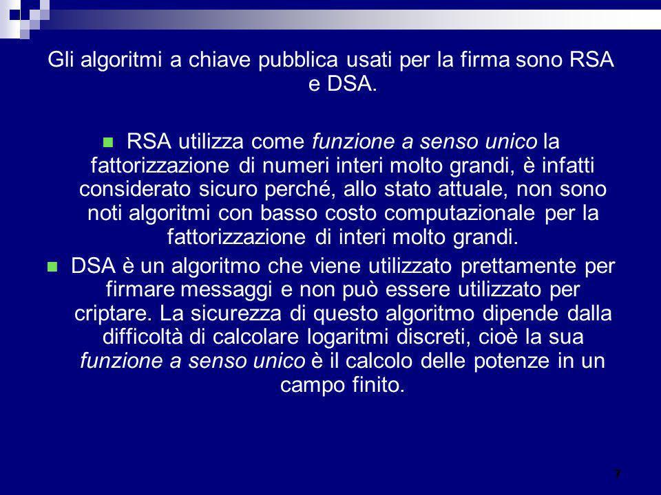 Gli algoritmi a chiave pubblica usati per la firma sono RSA e DSA.