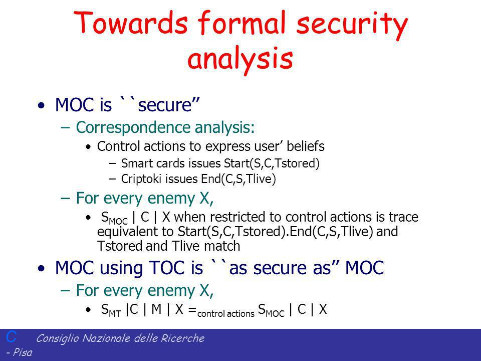 Towards formal security analysis