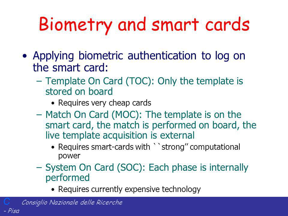 Biometry and smart cards