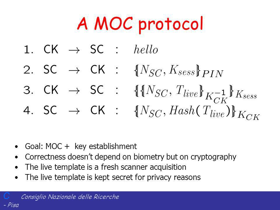 A MOC protocol Goal: MOC + key establishment