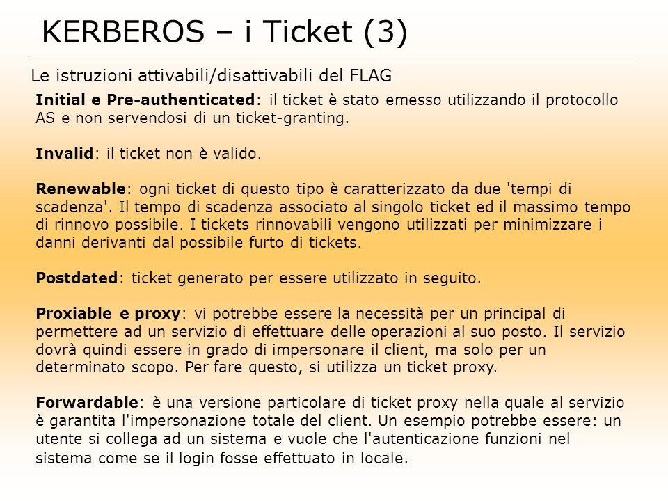 KERBEROS – i Ticket (3) Le istruzioni attivabili/disattivabili del FLAG.