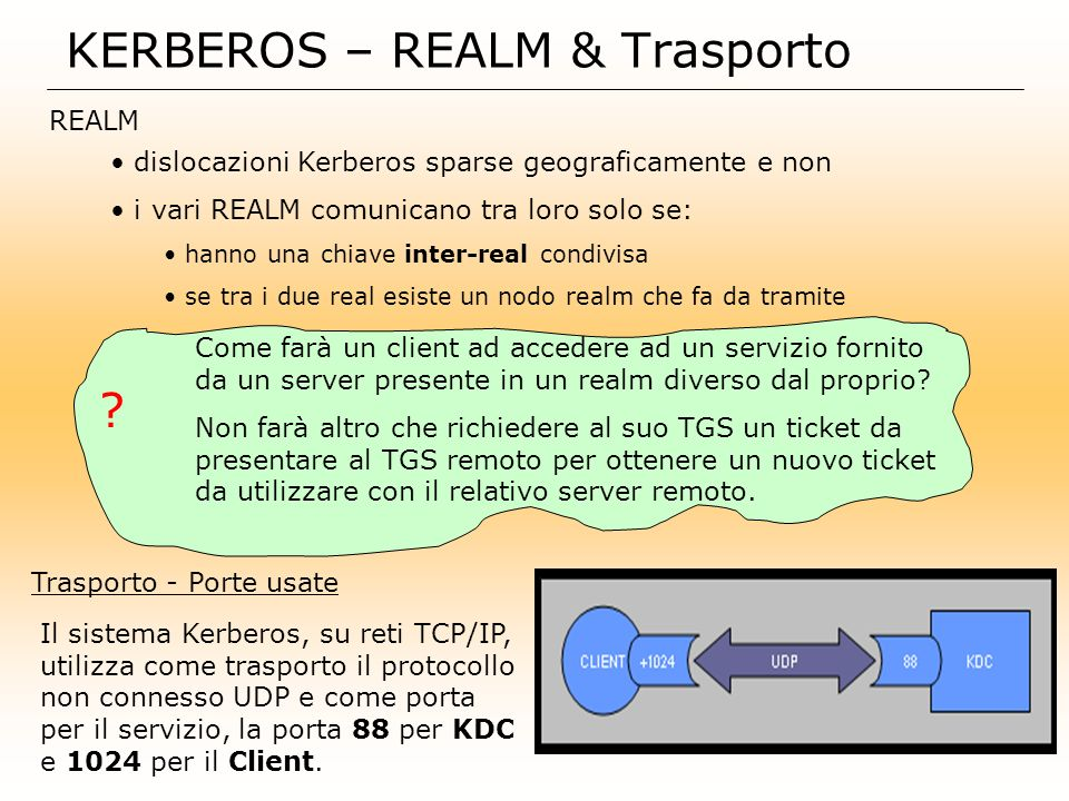 KERBEROS – REALM & Trasporto