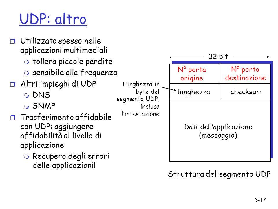 UDP: altro Utilizzato spesso nelle applicazioni multimediali
