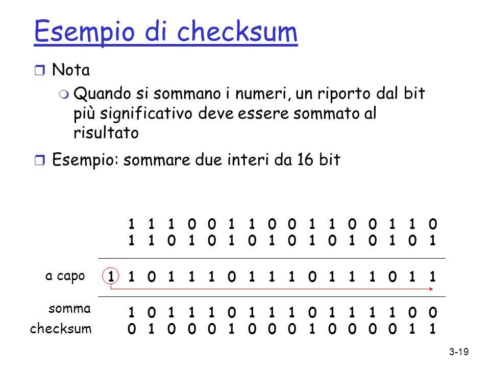 Esempio di checksum Nota