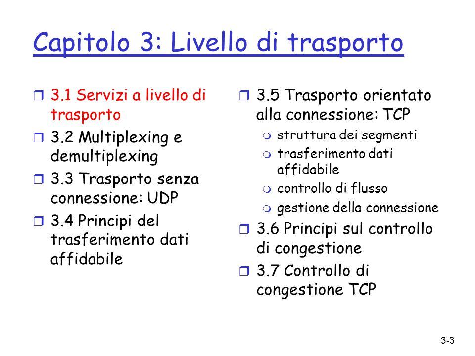 Capitolo 3: Livello di trasporto