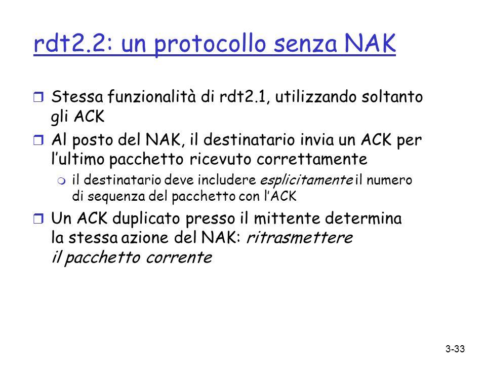 rdt2.2: un protocollo senza NAK