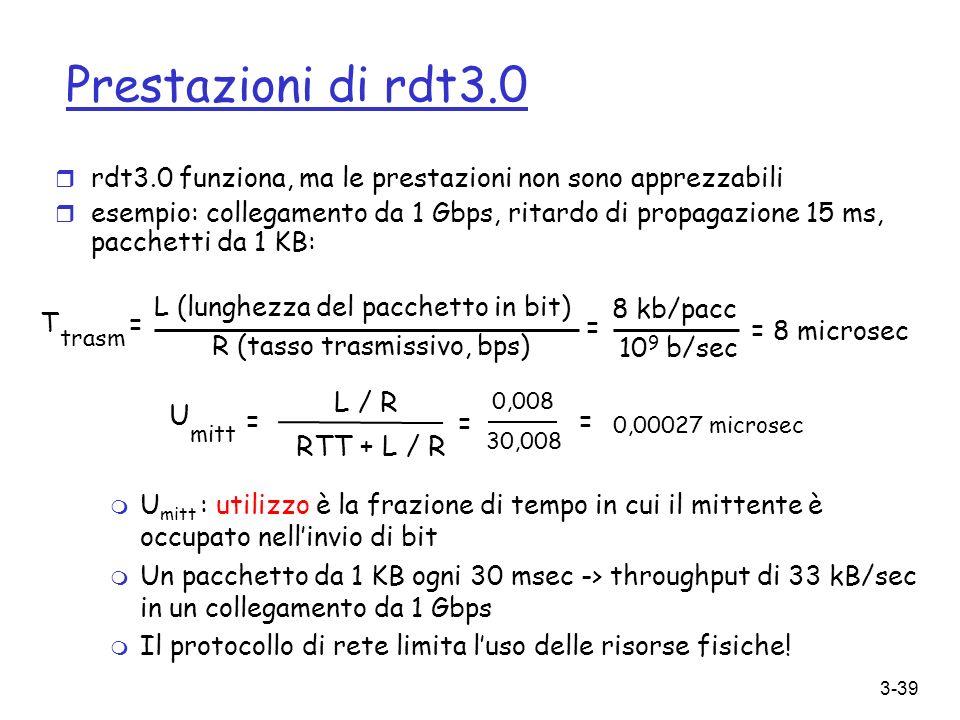 Prestazioni di rdt3.0 L / R U RTT + L / R