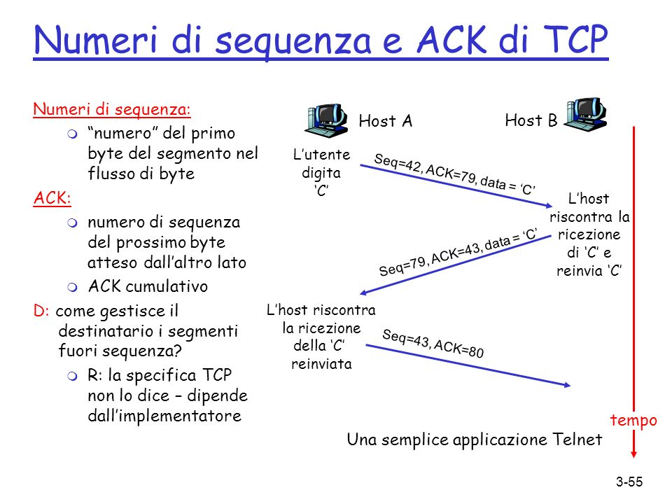 Numeri di sequenza e ACK di TCP
