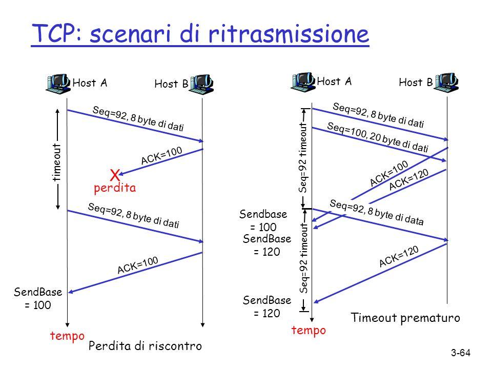 TCP: scenari di ritrasmissione