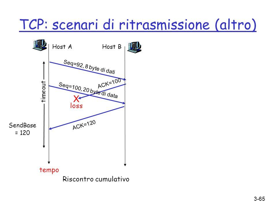 TCP: scenari di ritrasmissione (altro)