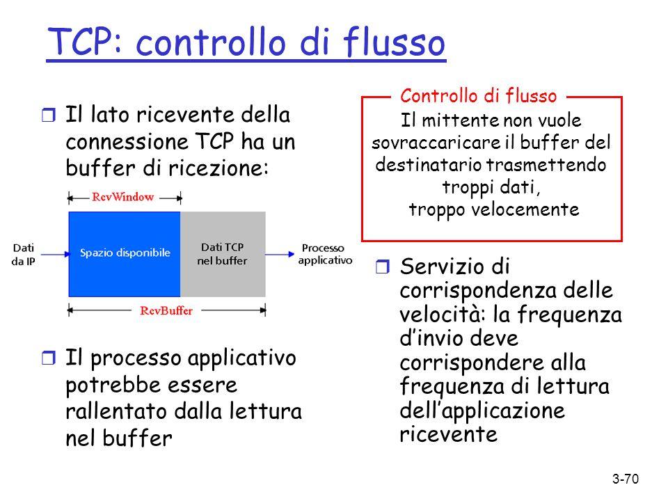 TCP: controllo di flusso