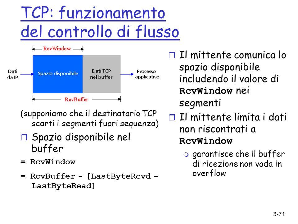 TCP: funzionamento del controllo di flusso