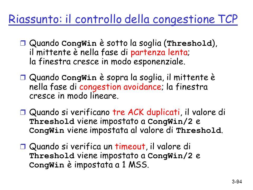 Riassunto: il controllo della congestione TCP