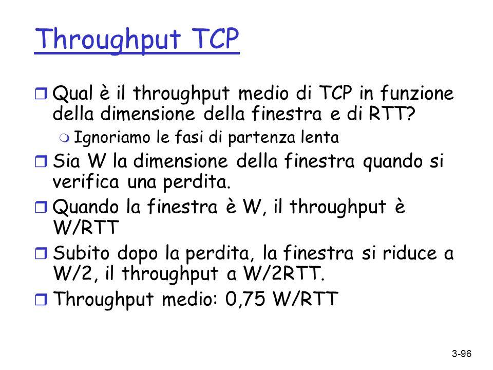 Throughput TCP Qual è il throughput medio di TCP in funzione della dimensione della finestra e di RTT