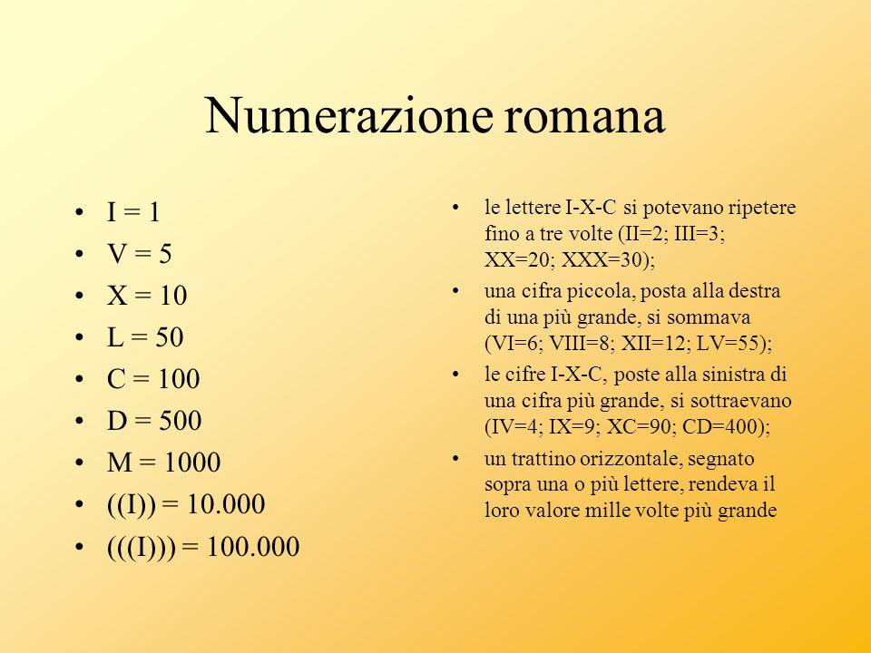 Numerazione romana I = 1 V = 5 X = 10 L = 50 C = 100 D = 500 M = 1000