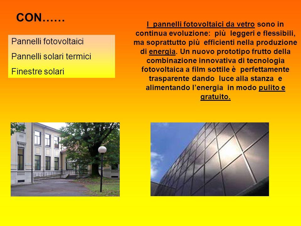 CON…… Pannelli fotovoltaici Pannelli solari termici Finestre solari