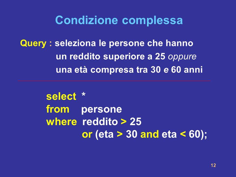 Condizione complessaQuery : seleziona le persone che hanno. un reddito superiore a 25 oppure. una età compresa tra 30 e 60 anni.