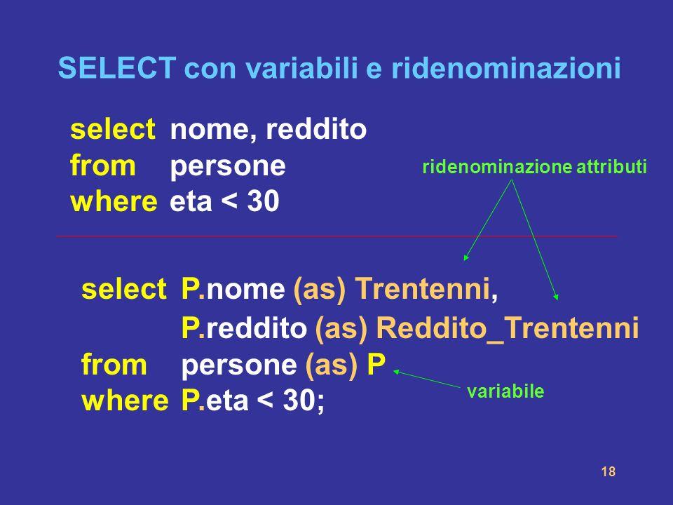 SELECT con variabili e ridenominazioni